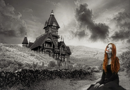 Gray thoughts - REDHEAD, GIRL, HAIRS, HOUSE
