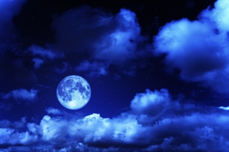 Moonlit Sky - stars, sky, night, blue, evening, moon, clouds, full moon