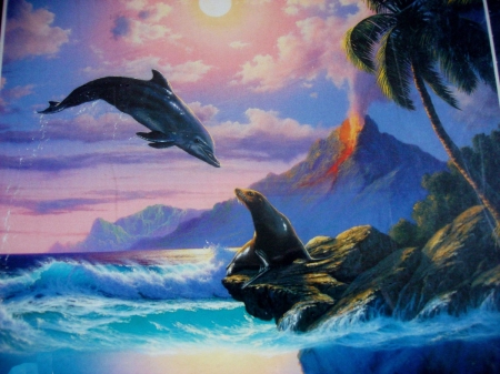 Greetings - sea lion, dolphin, painting, palm, waves, volcano, artwork, sea