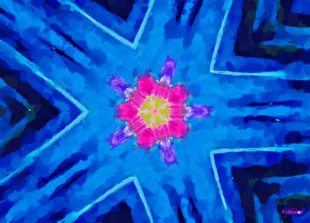 Abstract flower - texture, art, pink, yellow, blue, pictura, flower, by cehenot, abstract, painting