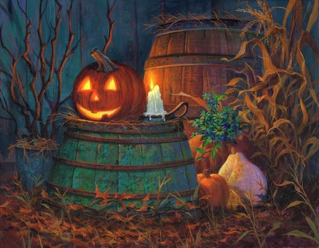 Magical halloween - lovely, halloween, beautiful, magic, smile, fire, octobre, splendor, color, nature, fields, season, pumpkins