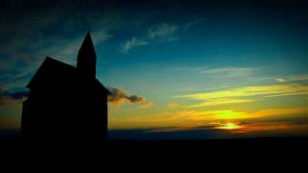 Sunset - dark, church, nature, sunset