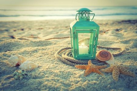 Beach Lantern ♥ - beach, sand, photography, lantern, summer, beautiful