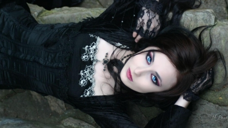 Gothic Girl On Rock