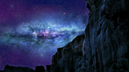 the milky way above mountain cliffs - stars, cliffs, night, mountains