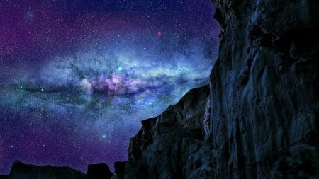 the milky way above mountain cliffs - stars, mountains, cliffs, night
