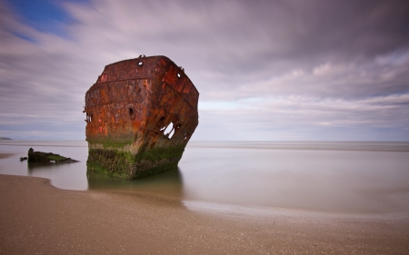 Ship Wreck - wreck, beach, sand, water, boat, marine, ship, ocean