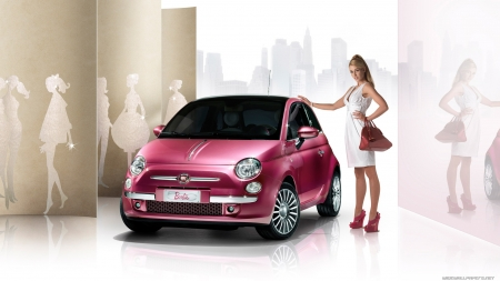 fiat barbie - barbie, fiat, girl, car