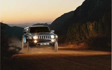 hummer - mountain, hummer, road, grass