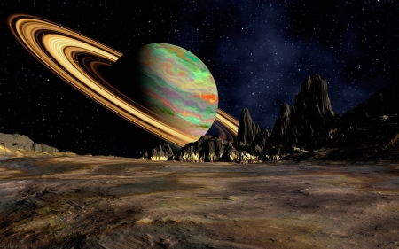 planetscape - planet, space, saturn, surface