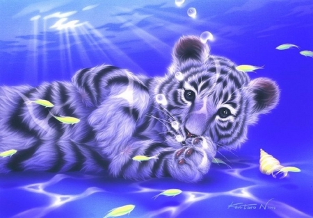Naughty Ocean - white tiger, oceans, fishes, sunlight, love four seasons, tiger, attractions in dreams, big wild cats, paintings, animals, blue