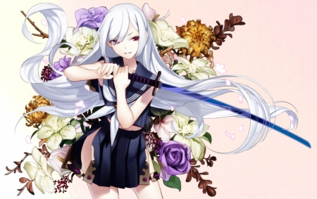 Katana Girl - pretty, white hair, beautiful, woman, sweet, anime, flowers, beauty, anime girl, long hair, pink, sword, blue, shirt, female, lovely, skirt, smile, soft, girl, uniform, katana, lady