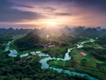 panorama of a fertile river valley in china