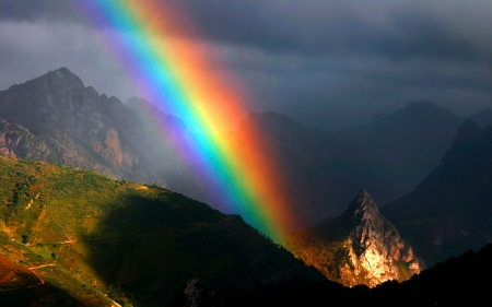 Mountain Rainbow Asturias, Spain F - rainbow, Spain, scenery, landscape, photography, Asturias, wide screen, beautiful, photo, nature