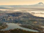 extreme aerial view of seattle