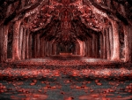 a tunnel of red trees