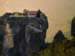 cliff top monastery in greece