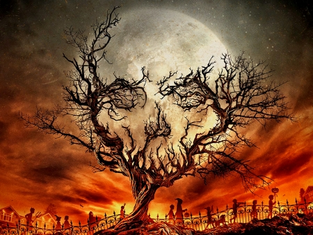 All Hallows Eve - autumn, fantasy, holiday, dark, magic, skull
