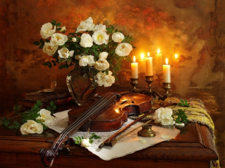 Still life - candle, pretty, violin, lovely, romantic, books, music, notes, vase, beautiful, peonies, still life, flame, bouquet, flowers, room