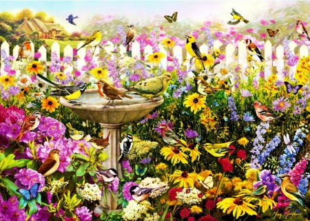 Bird Bath - fence, house, painting, flowers, butterflies, artwork