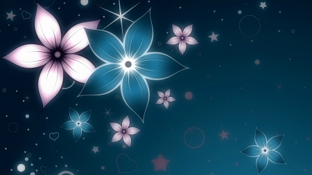 Floral Design - stars, dots, circles, flowers, hearts