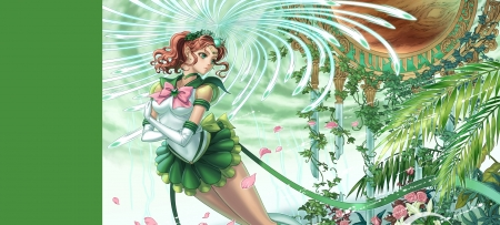 Sailor Jupiter - pretty, sailor, tie, beautiful, woman, sweet, green, anime, beauty, anime girl, long hair, pink, female, lovely, brown hair, cute, girl, uniform, petals, lady, white, pony tail