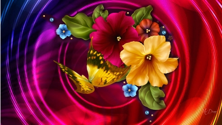 Power Flowers - swirlls, butterfly, bright, flowers, morning glorios, Firefox Persona theme, floral