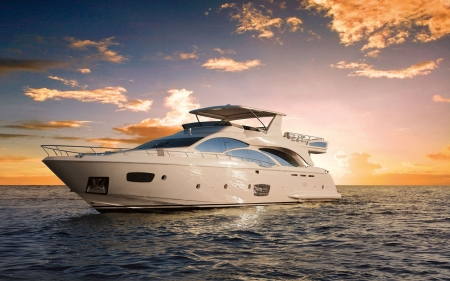 Superyacht - ocean, sunset, clouds, private, modern, Superyacht, boat, water, marine