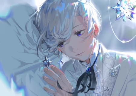 Crystals - reflex, stars, crystals, male, lovely, earings, white hair, ribbon, tie, beautiful, soft, man, cute, short hair, anime, blue