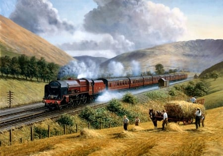 LMS Royal Scot Tebay Troughs 1935 F1 - railroad, art, locomotive, beautiful, illustration, artwork, train, engine, painting, wide screen, tracks