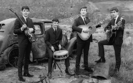 the beatles - beatles, guitar, men, car, drum