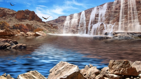 Waterfall - landscape, eagles, rocks, sky, river, cascades