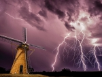 lightning strike by a windmill