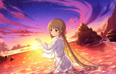 Summer sunset other anime background wallpapers on - Beach anime girl ...