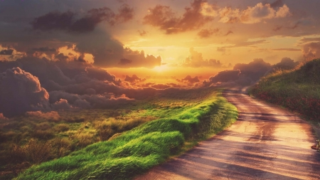road to the clouds in sunrise - grass, sunrise, road, clouds, hill
