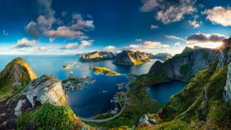 lofoten islands off the norway coast - islands, mountains, village, sky, coast, sea
