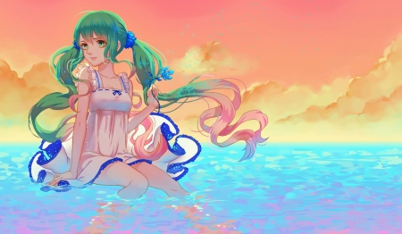 Blue Sea - pretty, adorable, sweet, nice, anime, beauty, anime girl, vocaloids, long hair, lovely, twintail, ocean, miku, sky, cute, water, hatsune, green hair, maiden, scenic, hd, dress, hatsune miku, beautiful, sea, twin tail, scenery, gorgeous, vocaloid, female, cloud, wer, smile, twintails, twin tails, girl, miku hatsune, scene