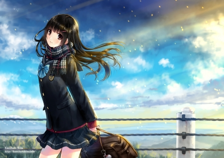 After School - fence, pretty, scenic, hd, bag, adore, beautiful, adorable, sublime, student, sweet, nice, anime, beauty, anime girl, scenery, long hair, black hair, school uniform, female, cloud, lovely, skirt, sky, cute, kawaii, girl, uniform, scene