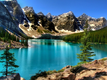 Moraine Lake, Banff National Park, Alberta - water, mountains, reflections, sky, canada