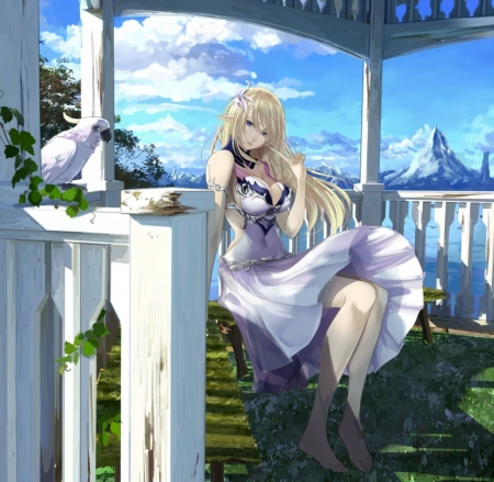 Summer Vacations - pretty, dress, beautiful, clouds, sweet, anime, beauty, anime girl, long hair, blue, lovely, blonde hair, sky, cute, girl, bird, mountains, white