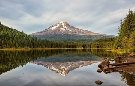 Mountain View - Trillium lake, Lake, Mountains, Oregon