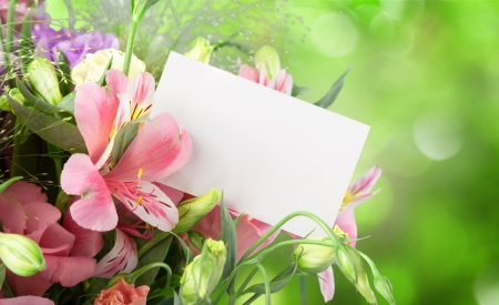 Happy Birthday! - birthday, card, bokeh, green, bouquet, summer, flower, white, alstroemeria eustoma, pink