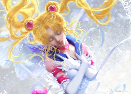 Sailo Moon - art, luminos, manga, yellow, blonde, fantasy, girl, sunmomo, anime, hand, sailor moon, beauty, pink, blue