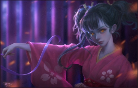 Vampire - red, art, frumusete, luminos, japanese, manga, yellow eyes, kimono, fantasy, girl, sunmomo, purple, anime, beauty, vampire, pink