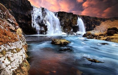 Waterfall - rocks, water, river, sunset, clouds, sky