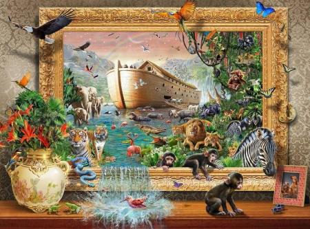 Noah's Coming from the Wall - frame, eagle, monkeys, artwork, lion, water, arch, ship, painting, animals