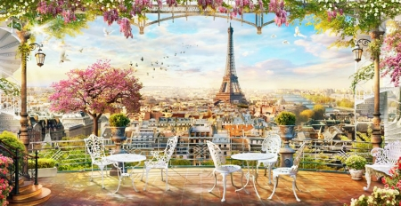 Evening in Paris - art, eiffel tower, balcony, chairs, flowers, paris, beautiful, evening