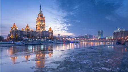 frozen river in moscow - frozen, dusk, boats, city, river