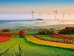 turbines among fields and vineyards in fog