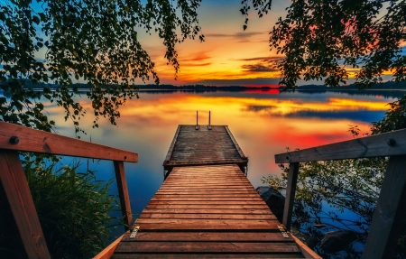 Just before blue moment - photo, fiery, pier, beautiful, sunset, trees, lake, beautifiul, moment, serenity, river, reflection, blue